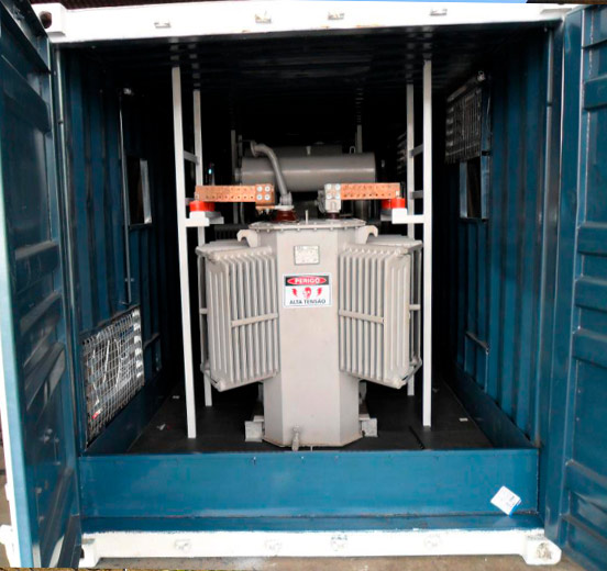 transformador instalado em container